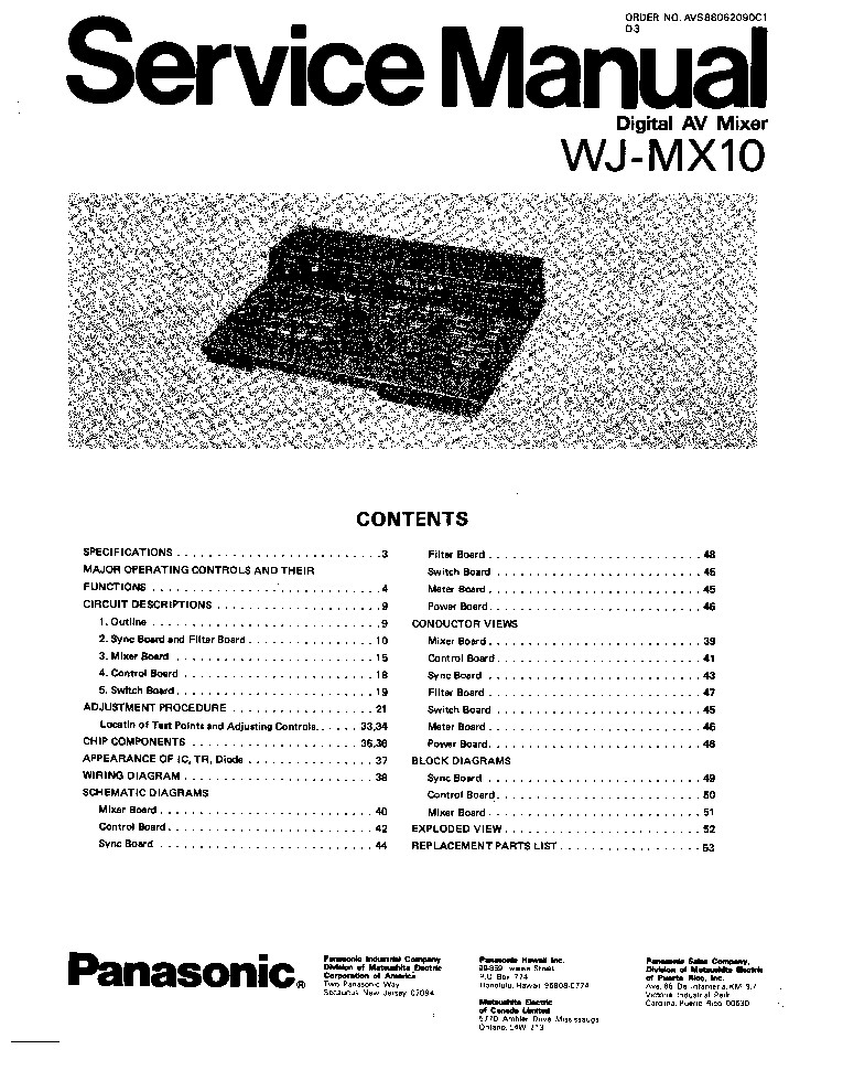 PANASONIC WJ-MX10 SM Service Manual download, schematics