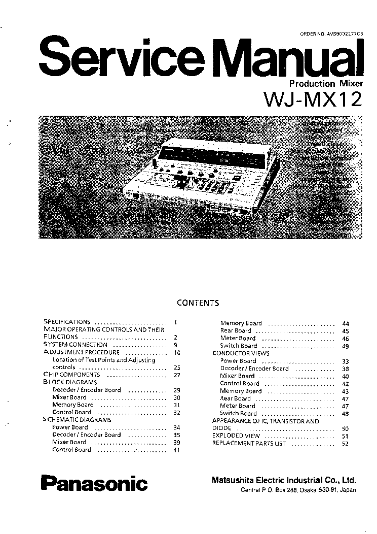 PANASONIC WJ-MX12 SM Service Manual download, schematics