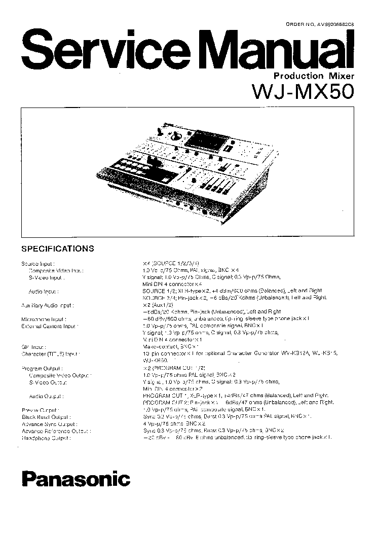 PANASONIC WJ-MX50 SM 2 Service Manual download, schematics
