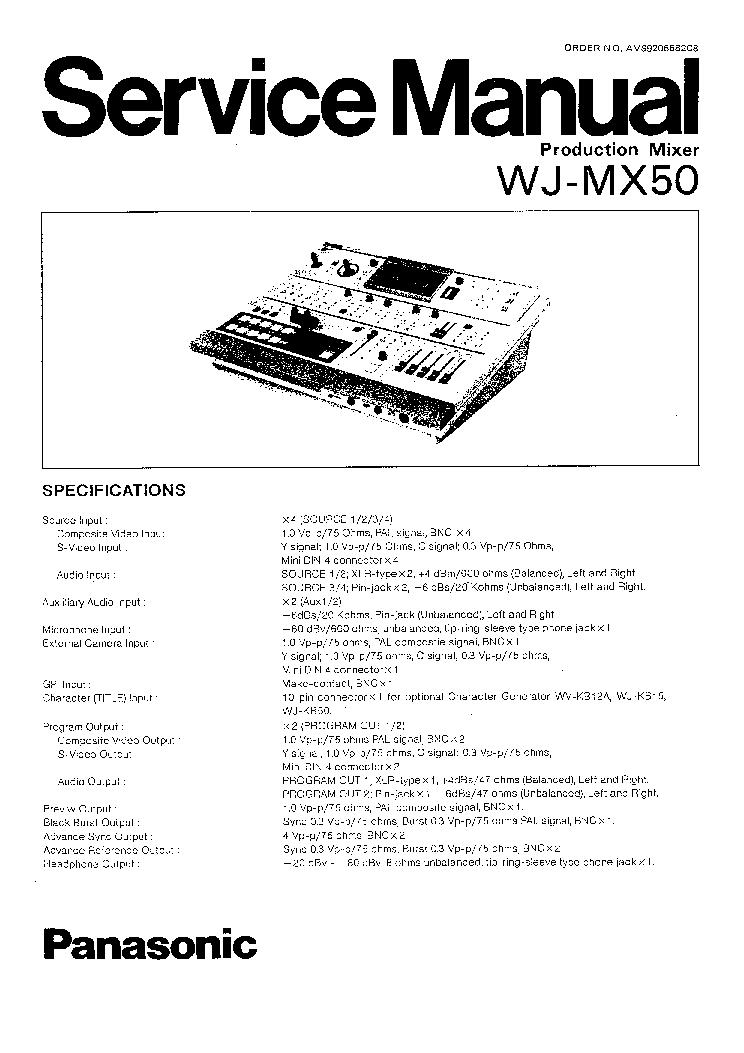 PANASONIC WJ-MX50 SM 2 Service Manual download, schematics
