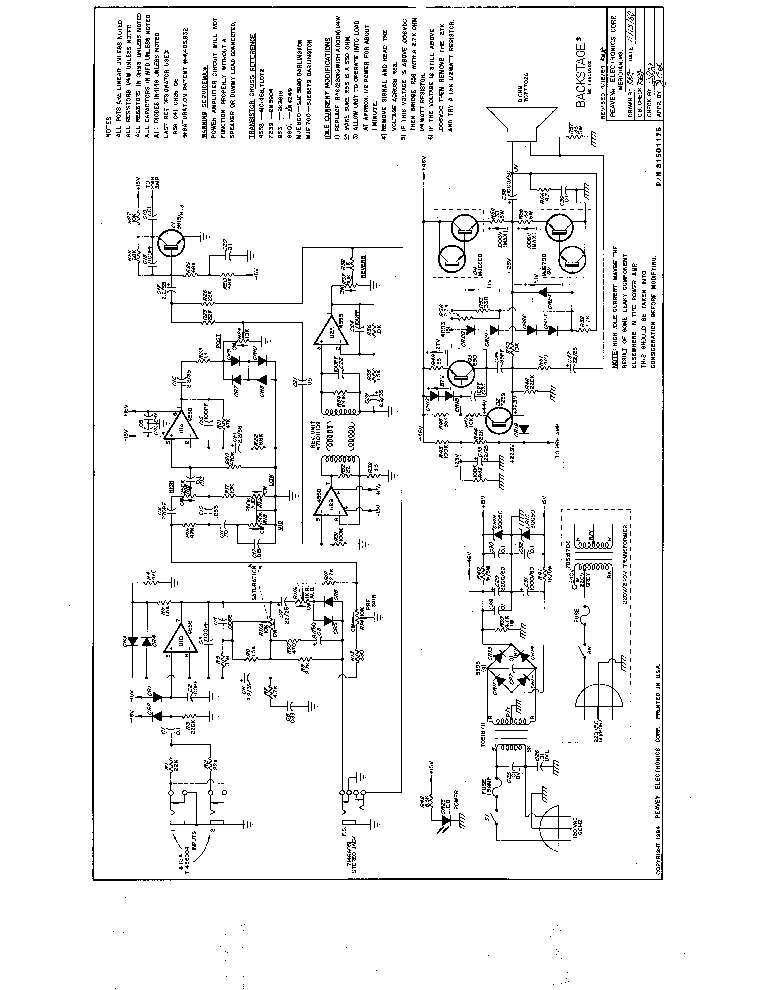 PEAVEY PV 1200 Service Manual free download, schematics