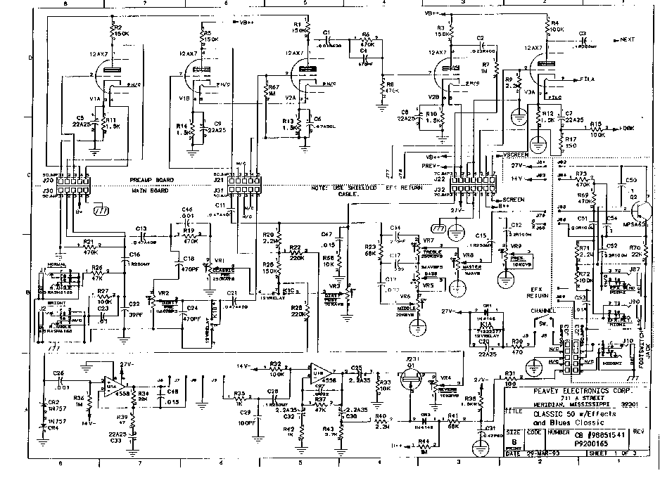PEAVEY CLASSIC-50 SCH Service Manual download, schematics