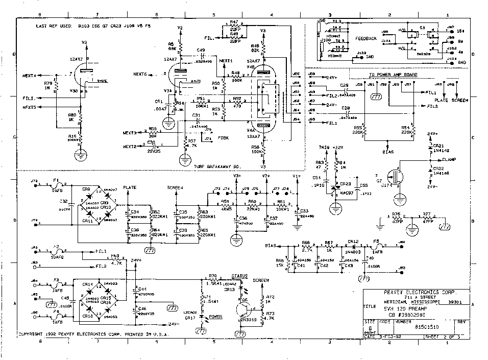 PEAVEY ELECTRONICS VANHALEN 120 TUBE AMPLIFIER 1992 SCH