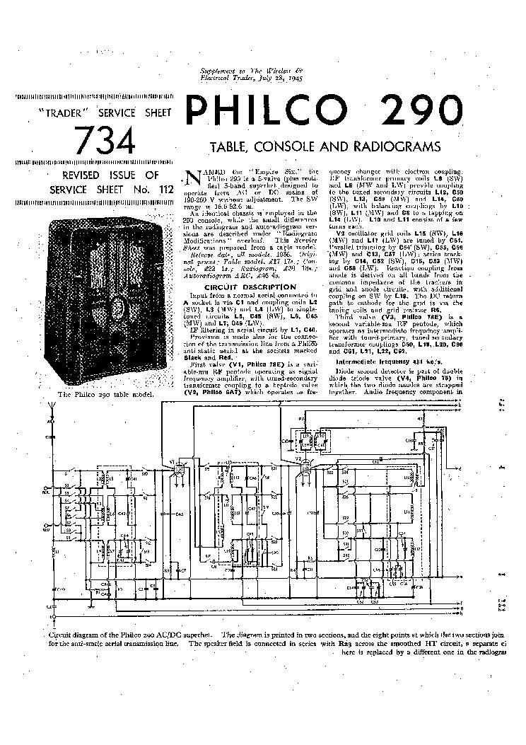 PHILCO 37-610 121 122 RADIO SM Service Manual download