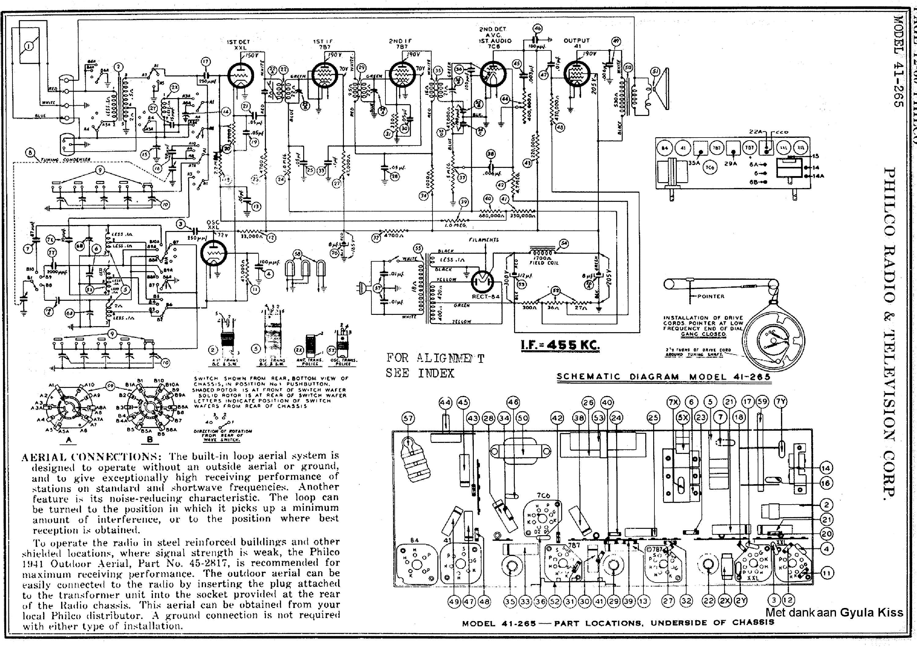 PHILCO 41-265 RADIO SM Service Manual download, schematics