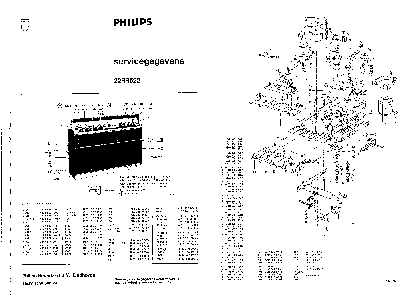PHILIPS 22RR522 Service Manual download, schematics