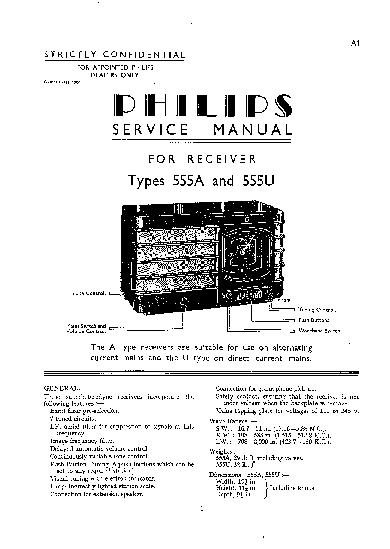 PHILIPS 555A 555U AC-DC RADIO 1938 SM Service Manual