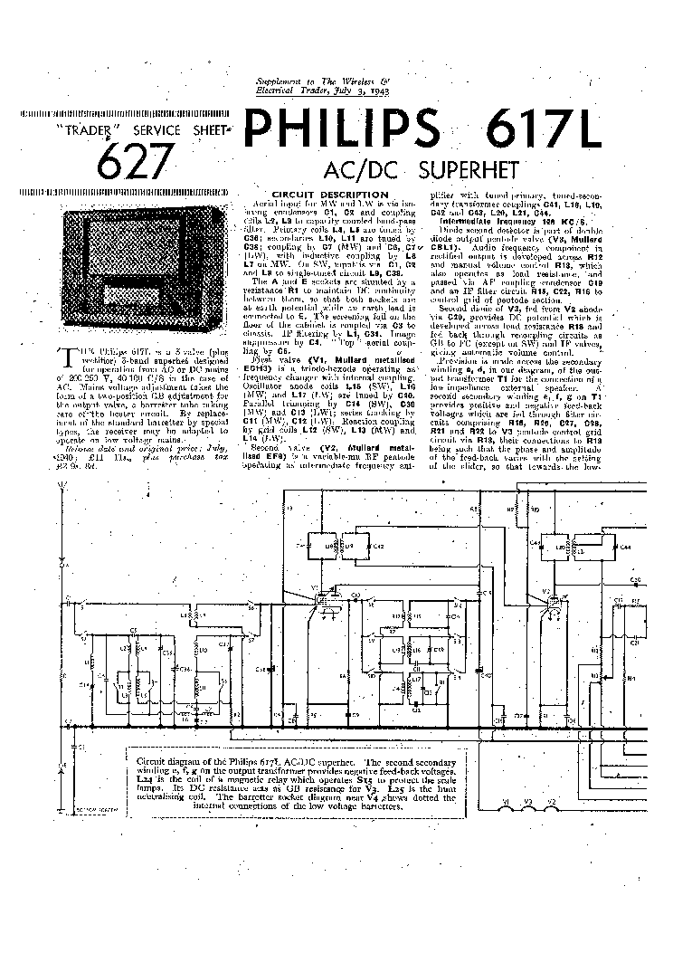 PHILIPS BX660X RADIO 1946 SM Service Manual download