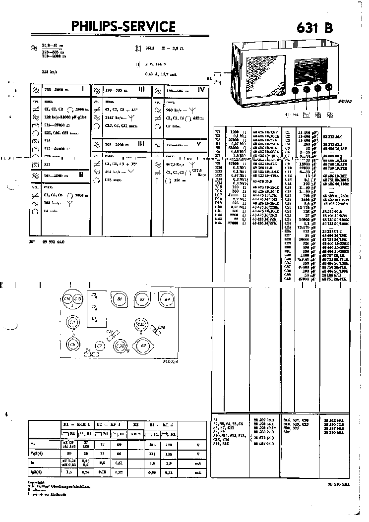 PHILIPS 631B Service Manual download, schematics, eeprom