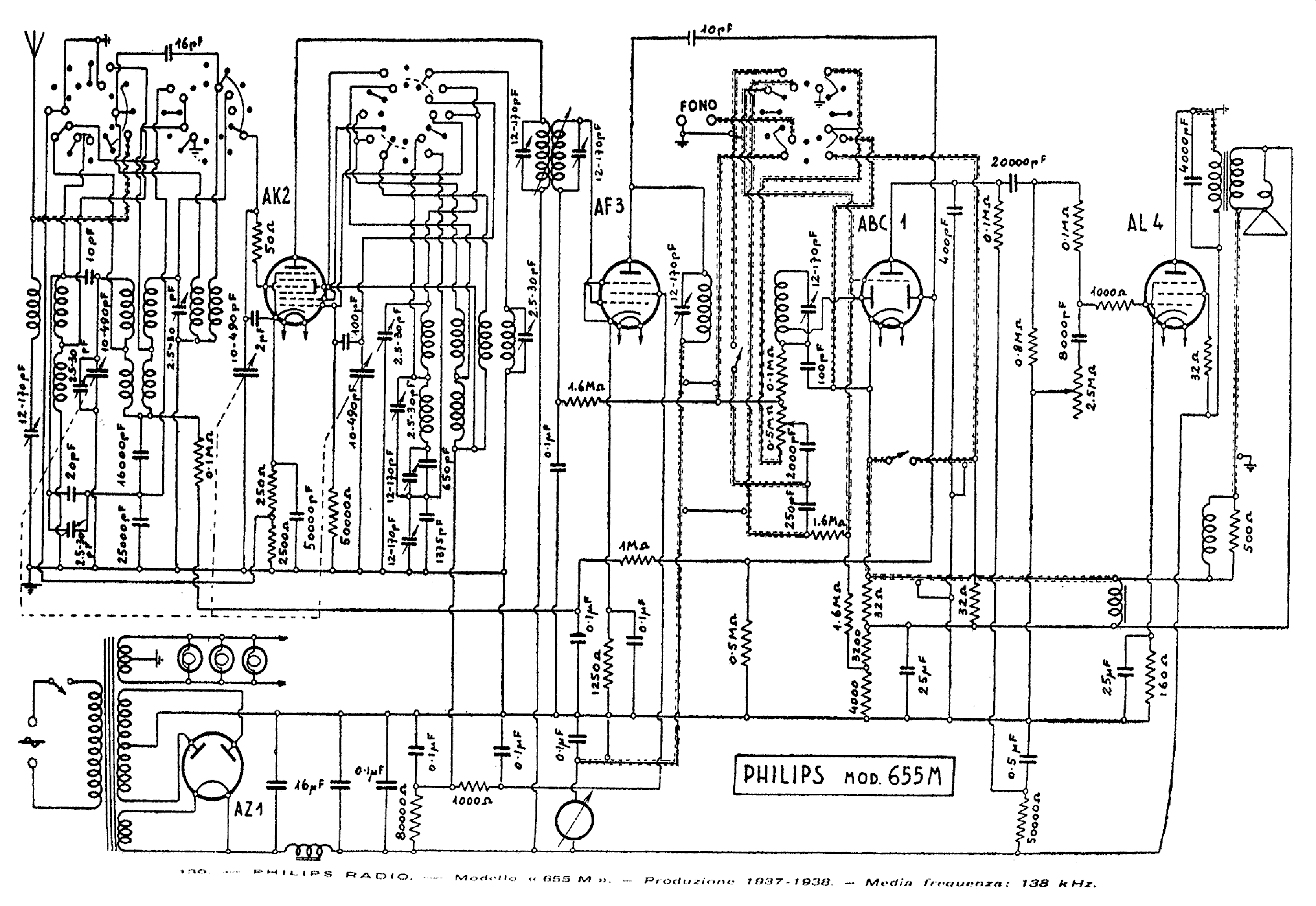 PHILIPS 655M AC RADIO 1937 SCH Service Manual download