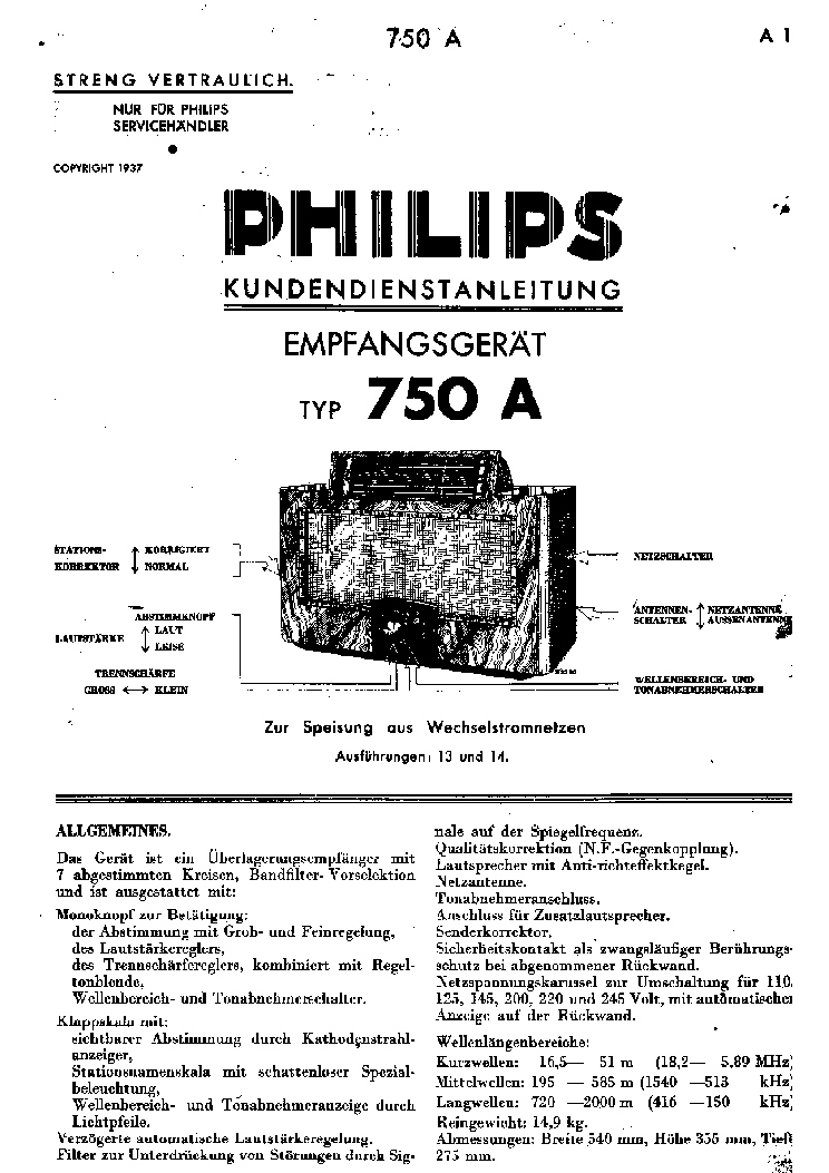 PHILIPS 750A Service Manual download, schematics, eeprom