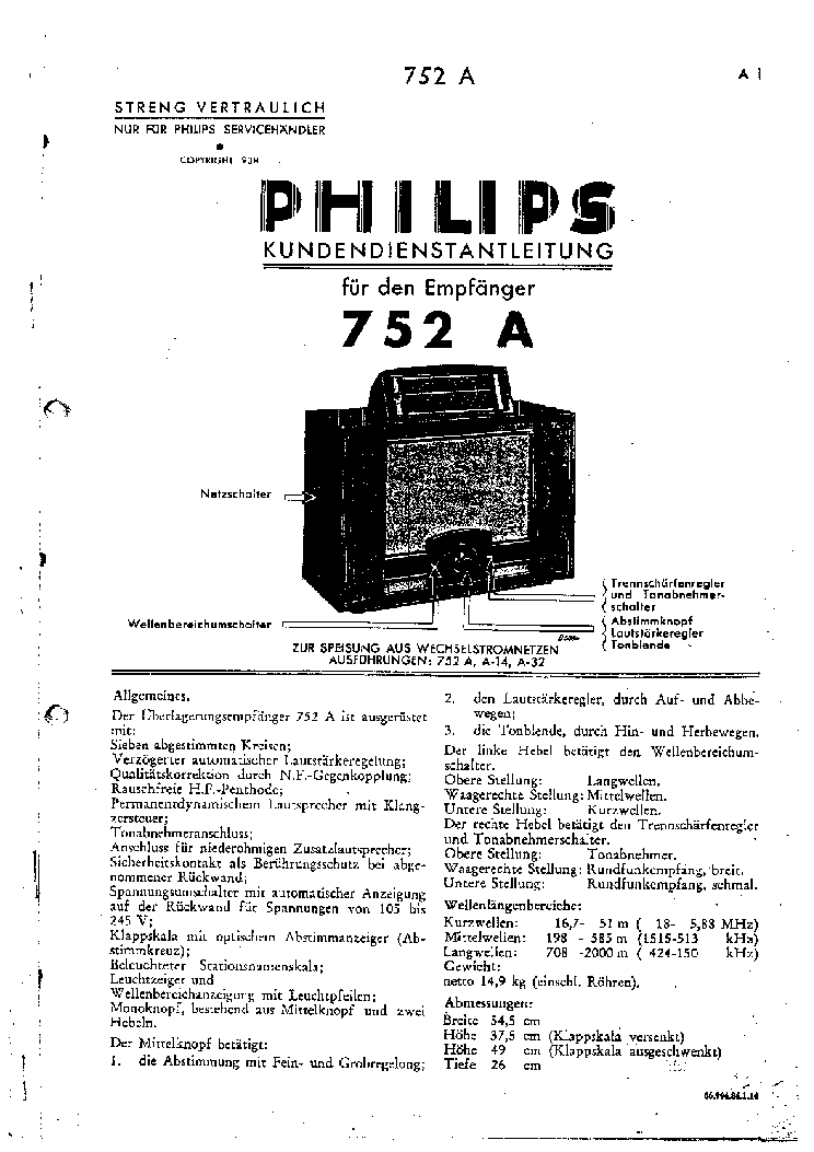 PHILIPS 752A Service Manual download, schematics, eeprom