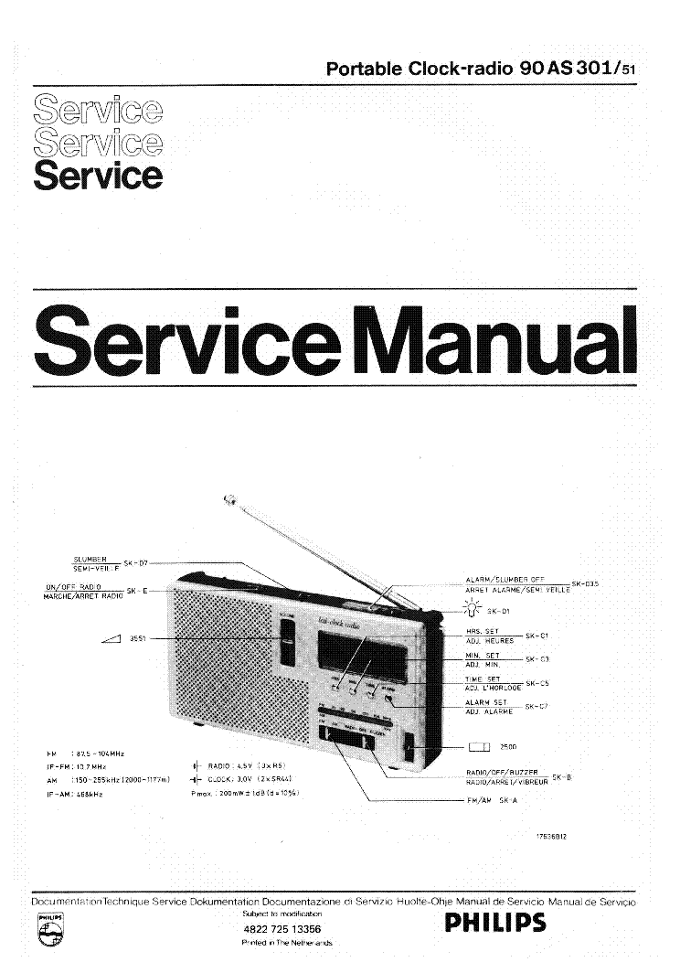 PHILIPS 90AS301 SCH Service Manual download, schematics