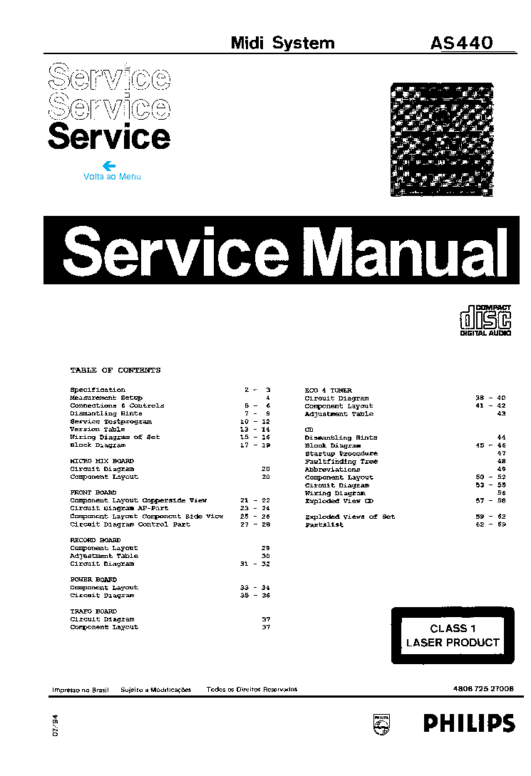 PHILIPS AS440 Service Manual download, schematics, eeprom
