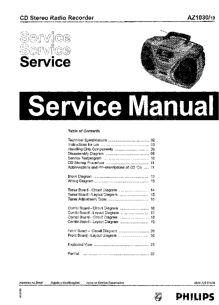 PHILIPS AZ1030 SM Service Manual download, schematics