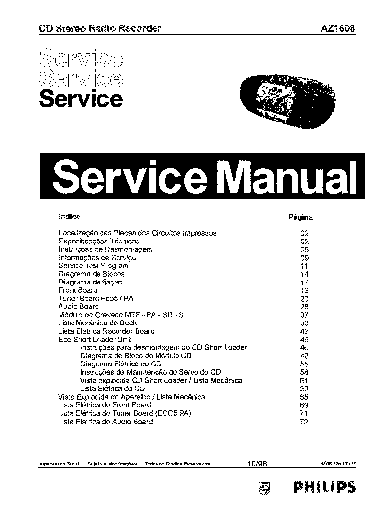 PHILIPS AZ1508 SM Service Manual download, schematics