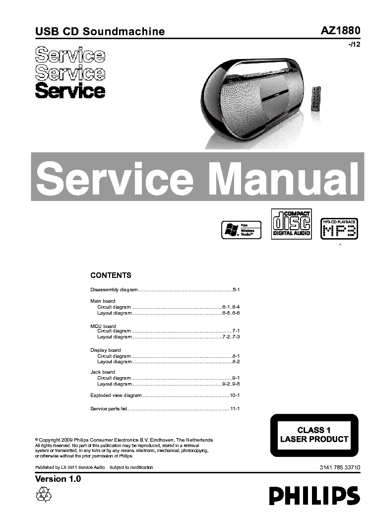 PHILIPS AZ1880 VER-1.0 SCH Service Manual download