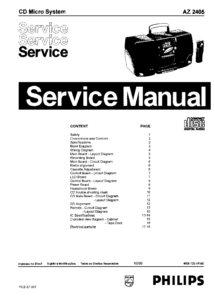 PHILIPS AZ2405 SM Service Manual download, schematics