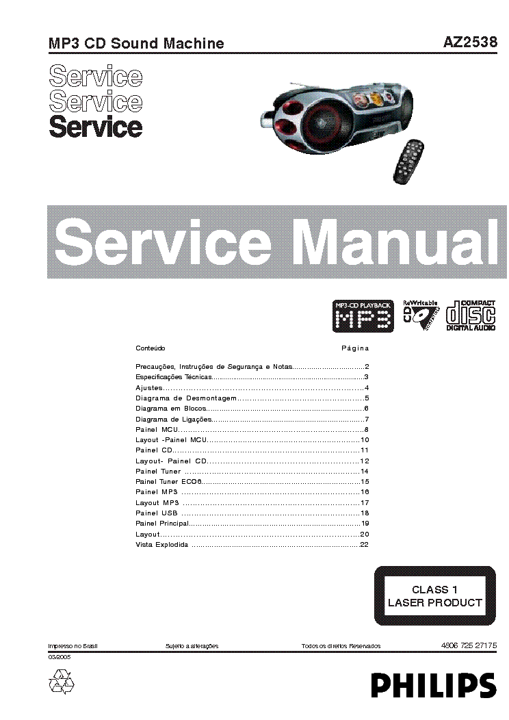 PHILIPS AZ2538 CD SOUNDMACHINE SM Service Manual download