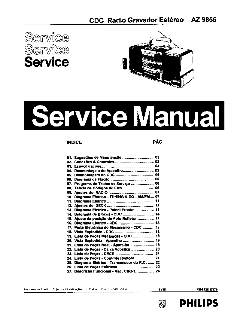 PHILIPS 834A VINTAGE RADIO SM Service Manual download