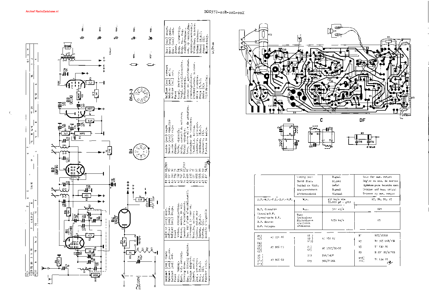PHILIPS B0X97U Service Manual download, schematics, eeprom