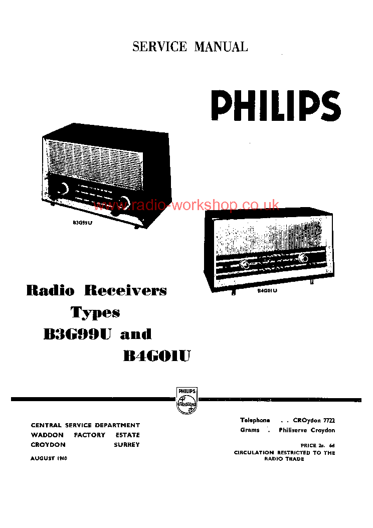 PHILIPS B4G12U B4G01U B3G99U Service Manual download