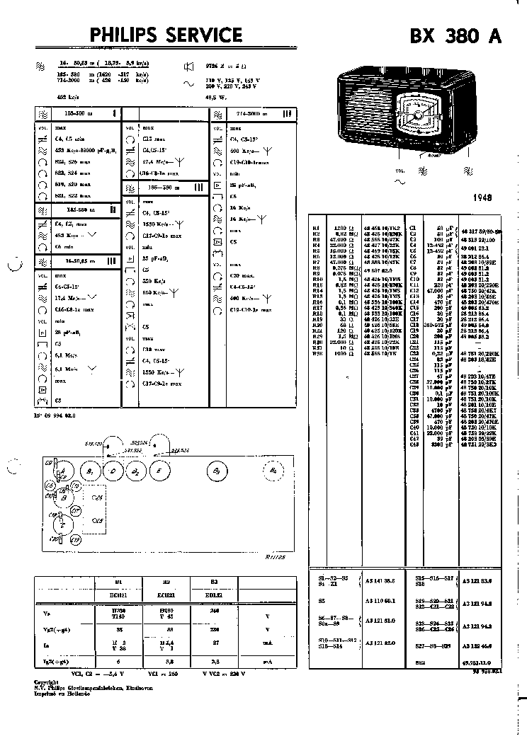 PHILIPS BX653A AM-FM RADIO 1955 SM Service Manual free