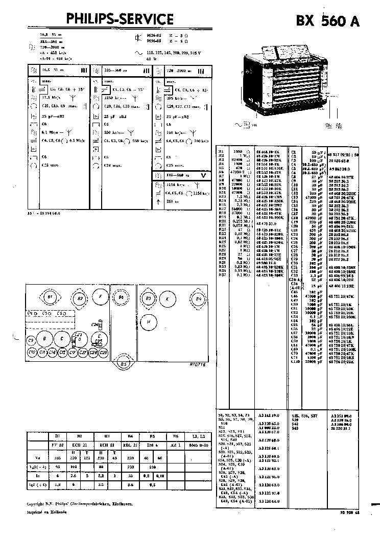 PHILIPS BX560A RADIO 1946 SM Service Manual download
