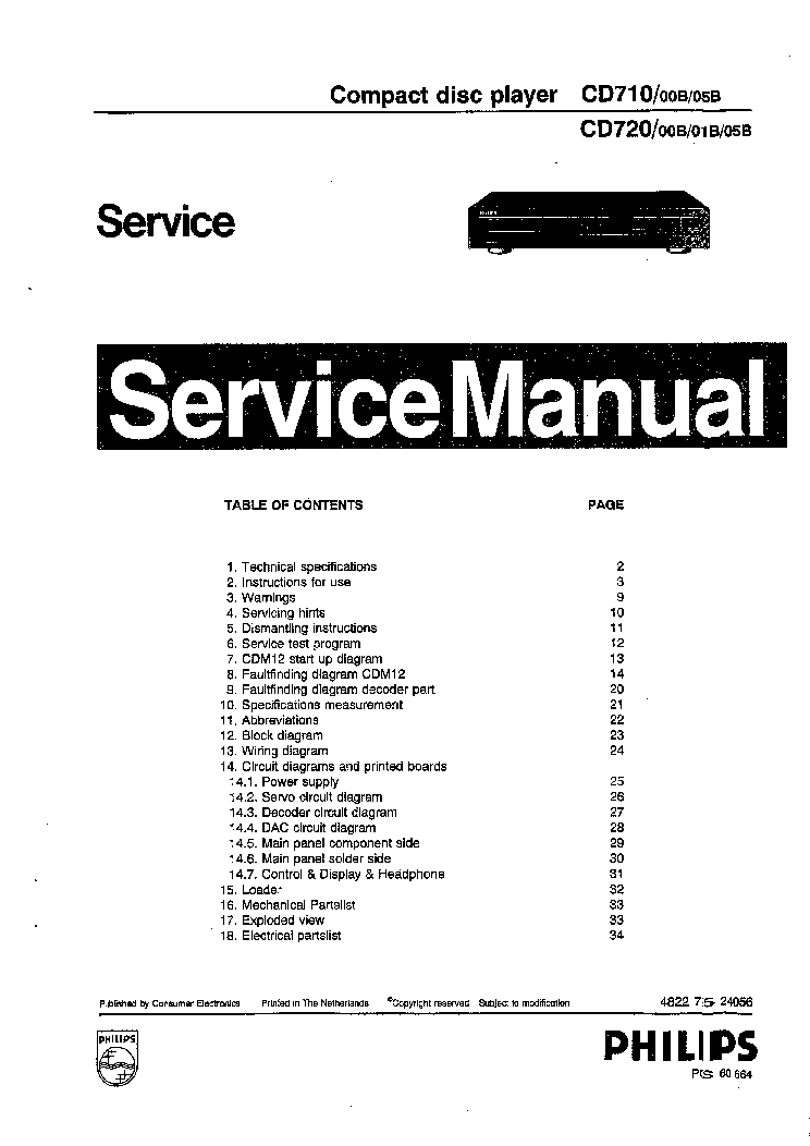 PHILIPS CD721 Service Manual download, schematics, eeprom