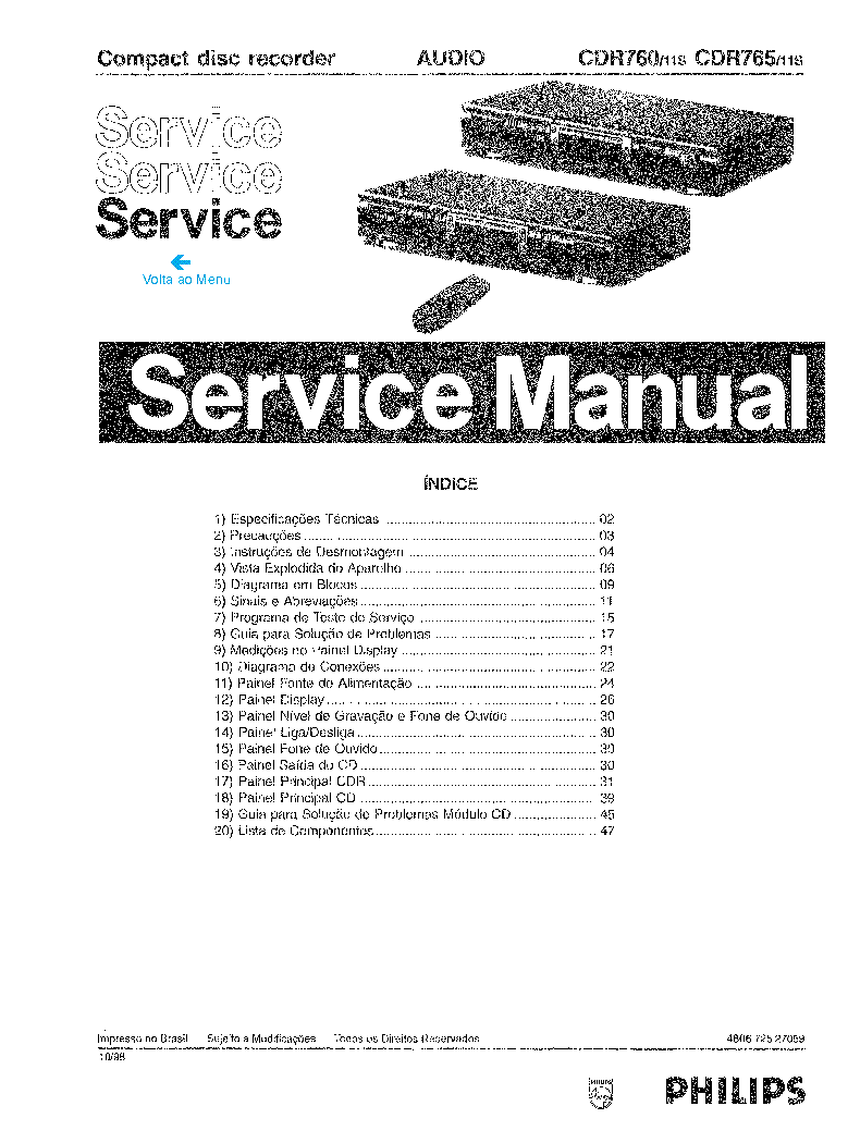 PHILIPS CDR760 CDR765 SM1 Service Manual download