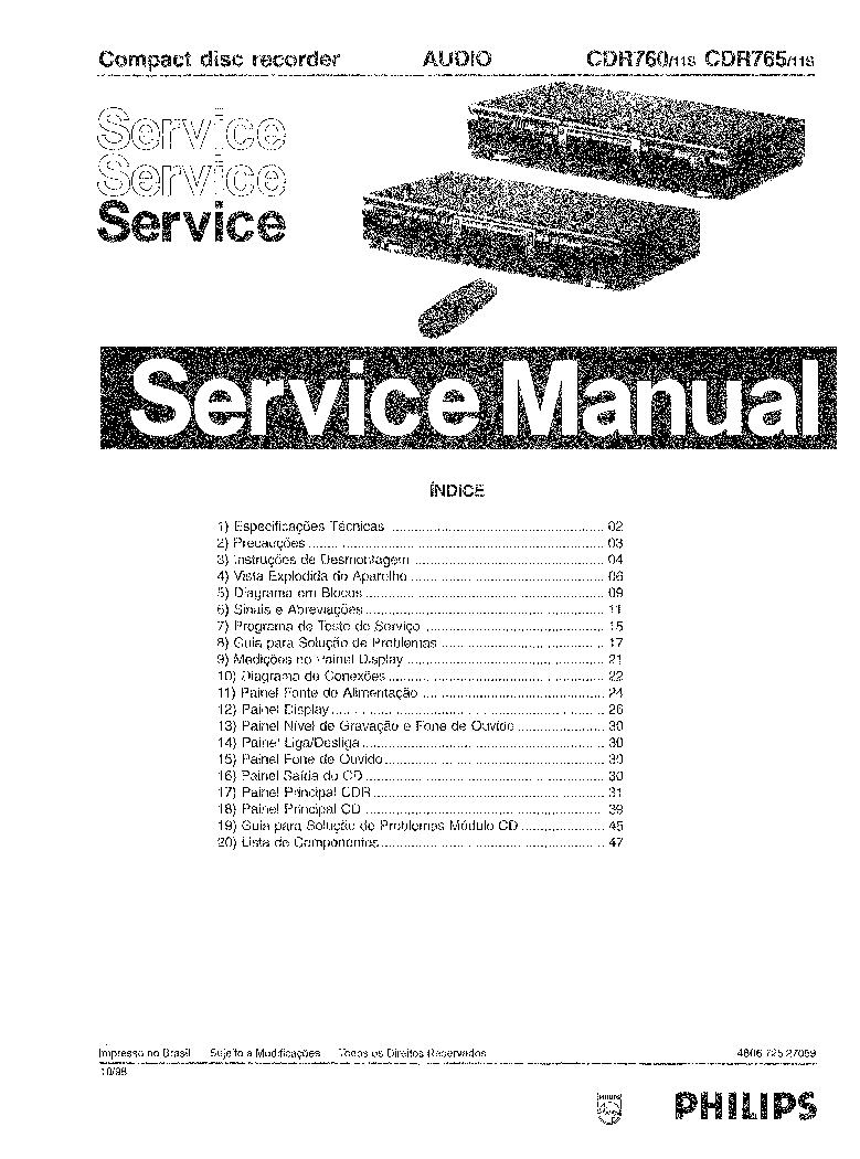 PHILIPS CDR760 CDR765 SM2. Service Manual download