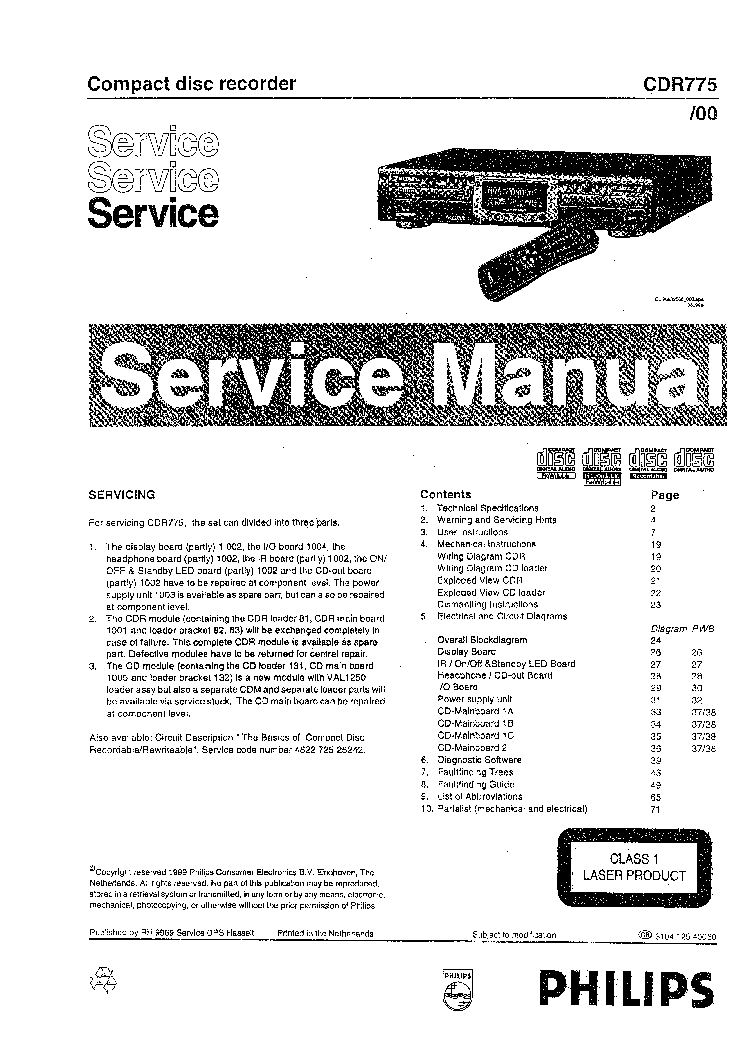 PHILIPS CDR775-00 SM Service Manual download, schematics