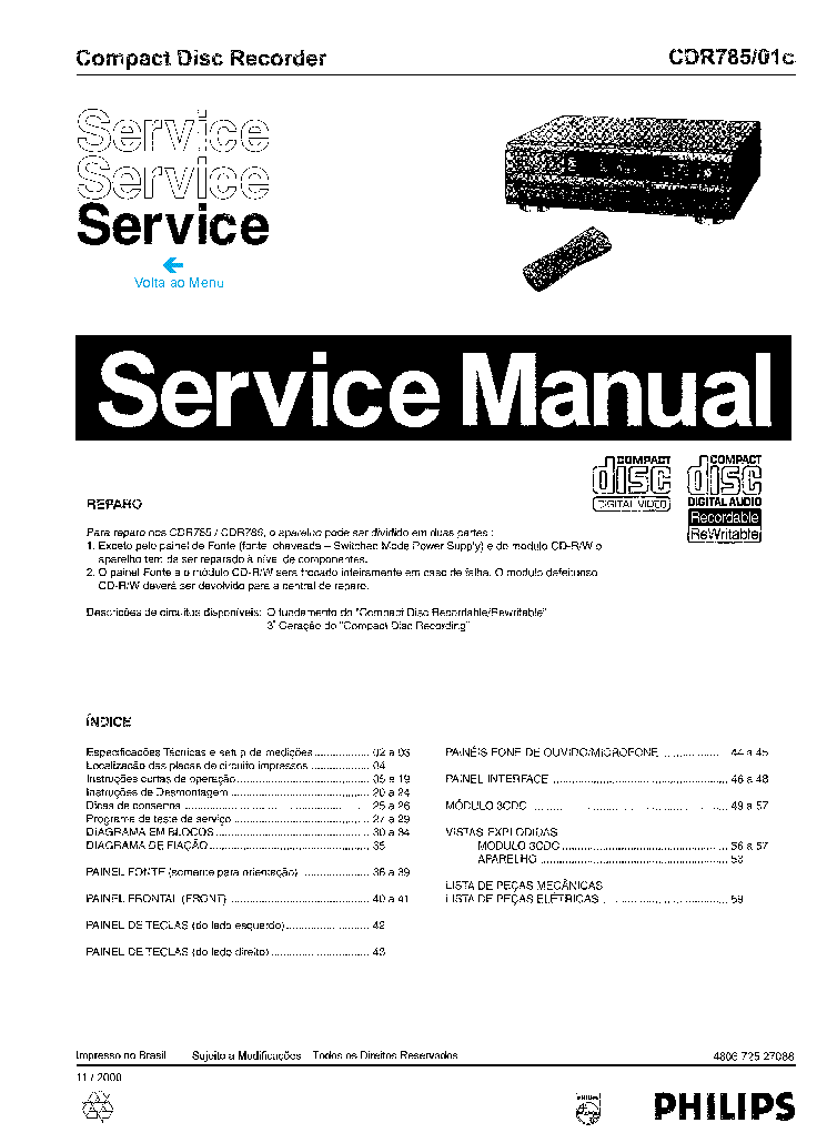 PHILIPS CDR785-01C SM Service Manual download, schematics