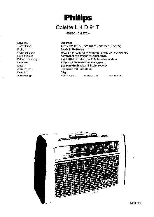 PHILIPS COLETTE L4D91T PORTABLE RADIO 1959 SM Service
