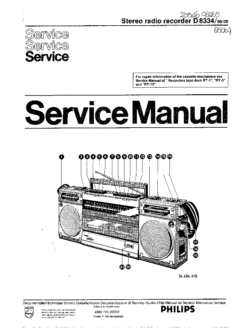 PHILIPS B5X84A Service Manual free download, schematics