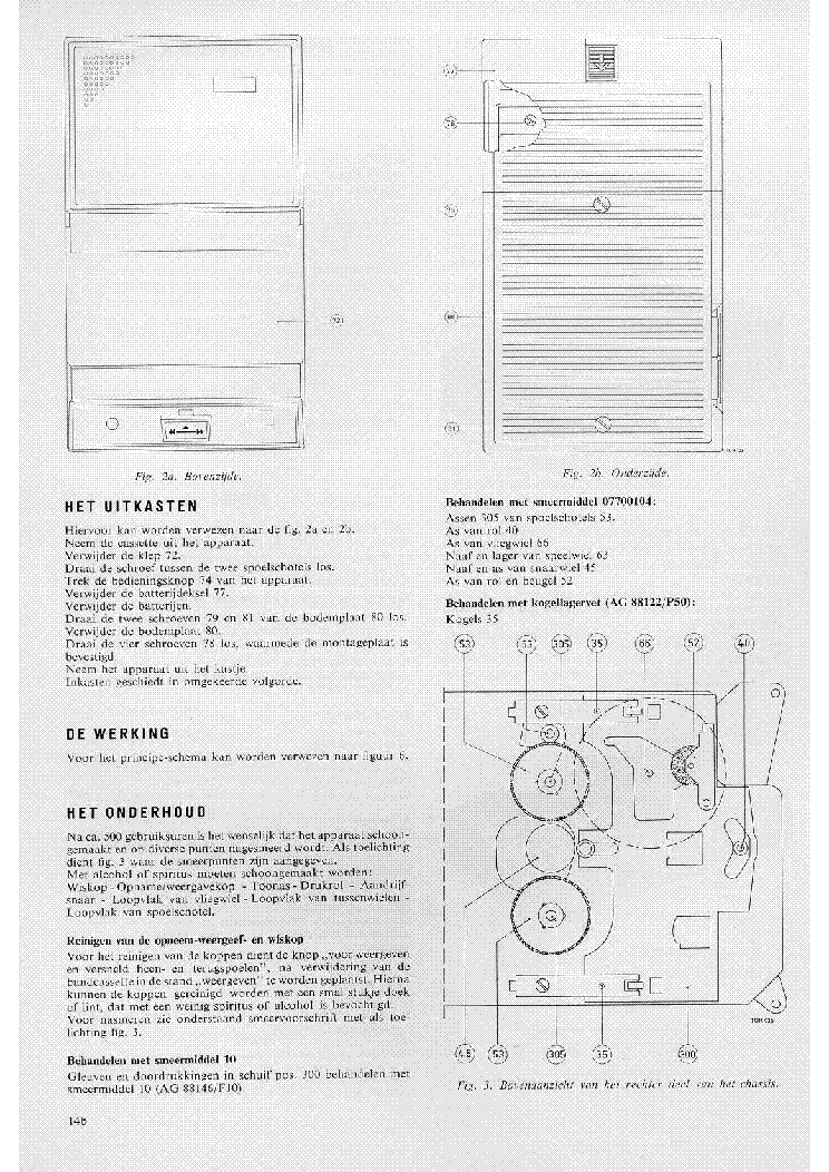 PHILIPS EL3300 MONO CASSETTE RECORDER SM Service Manual