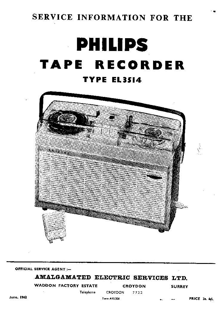 PHILIPS EL3514 TAPERECORDER 1962 SM Service Manual