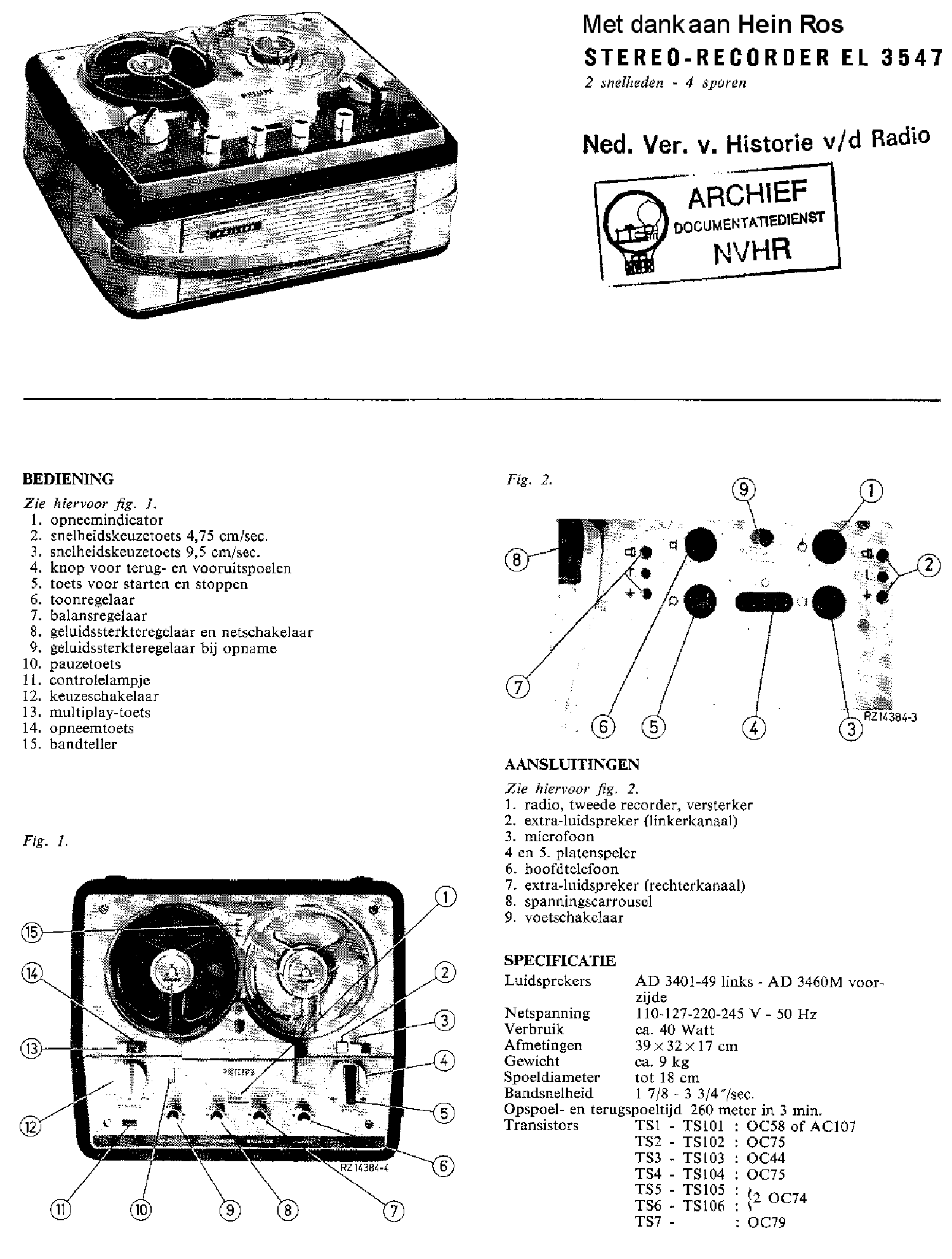 PHILIPS EL3547A-30 STEREO RECORDER SM Service Manual