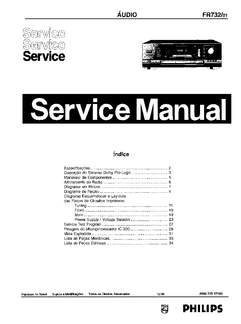 PHILIPS FR732 SCH Service Manual download, schematics