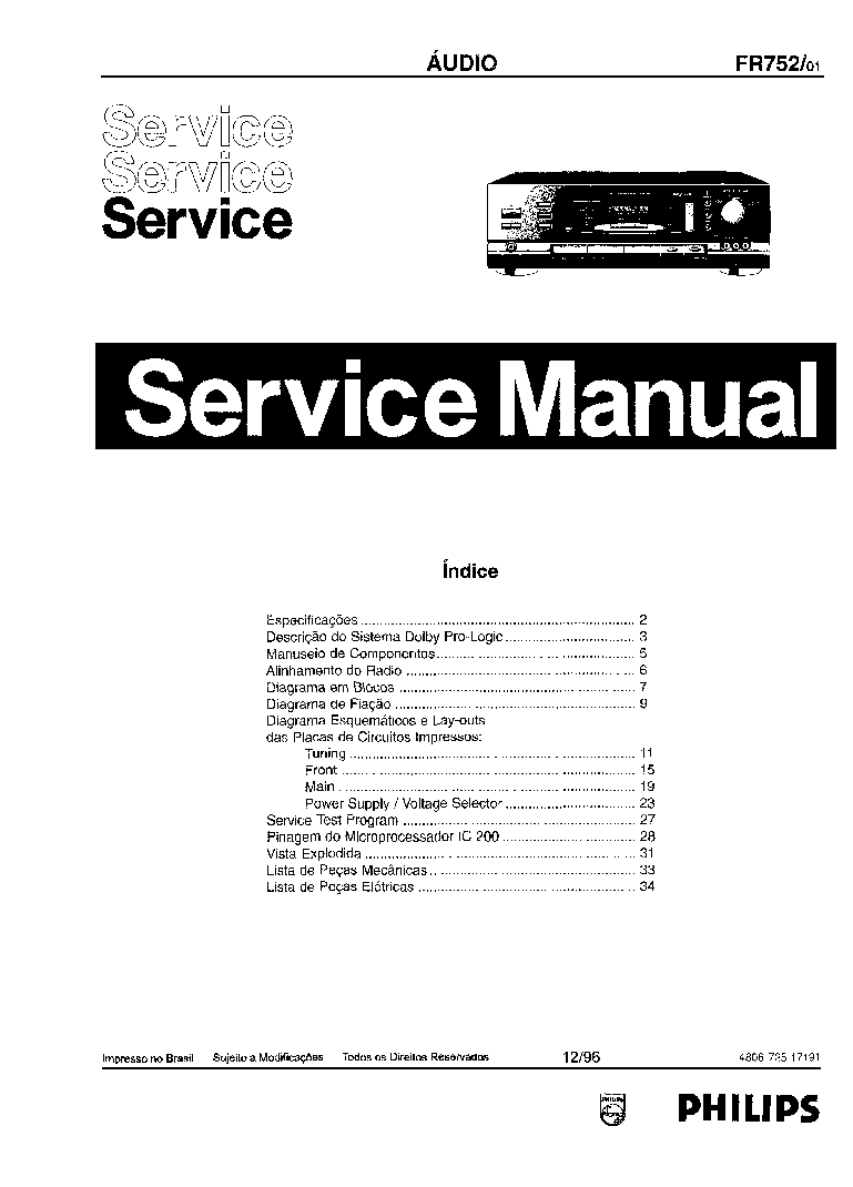 PHILIPS FR752-01 SCH Service Manual download, schematics