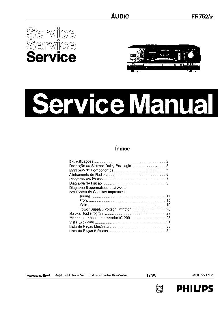 PHILIPS FR752-01 SCH Service Manual download, schematics
