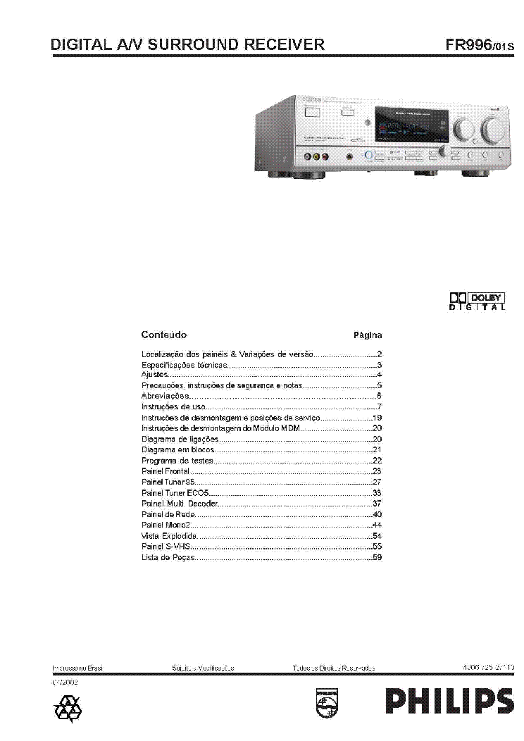 PHILIPS FR996-01S SCH Service Manual download, schematics