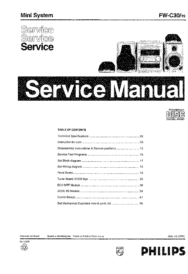 PHILIPS FW-C30-19 SCH Service Manual download, schematics