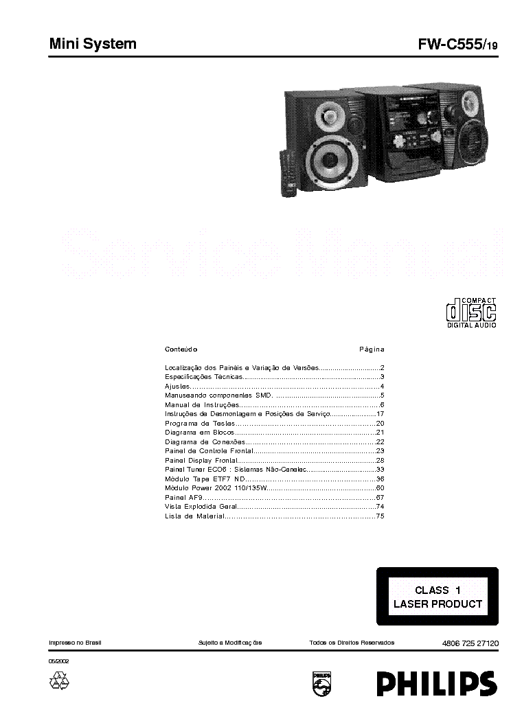 PHILIPS FW-C555 SCH Service Manual download, schematics