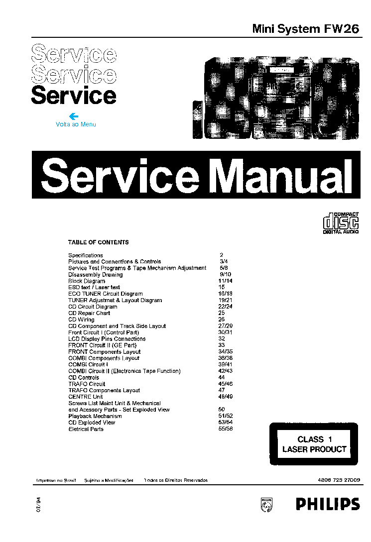 PHILIPS FW26 Service Manual download, schematics, eeprom
