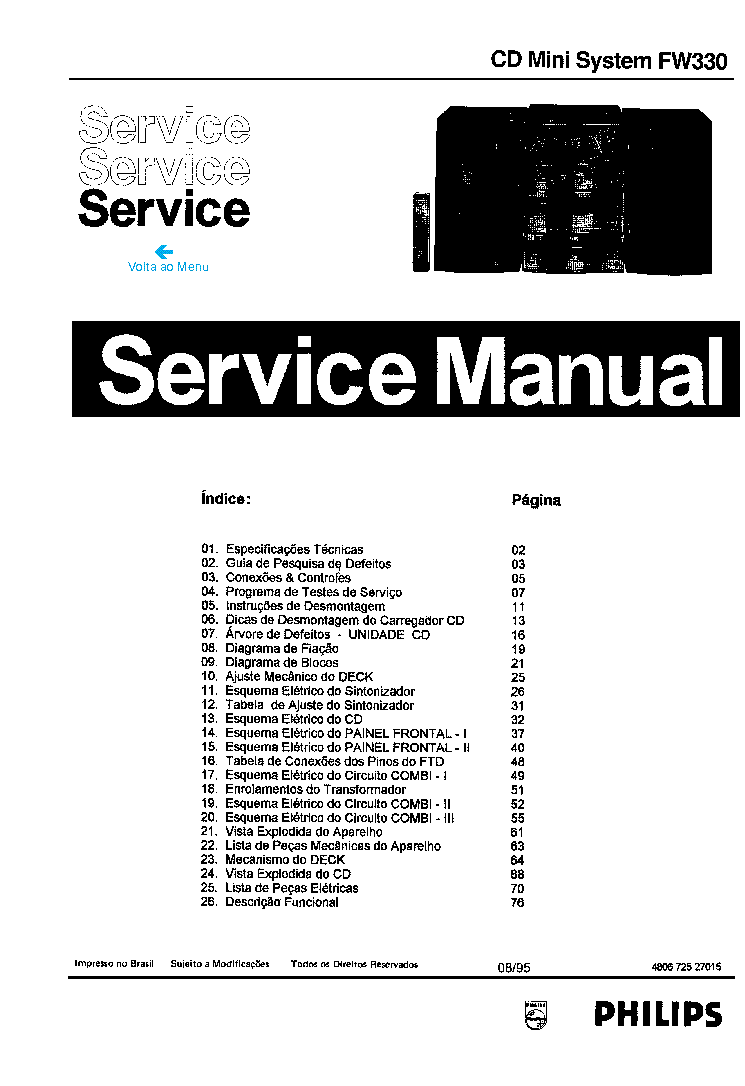 PHILIPS FW330 SM Service Manual download, schematics