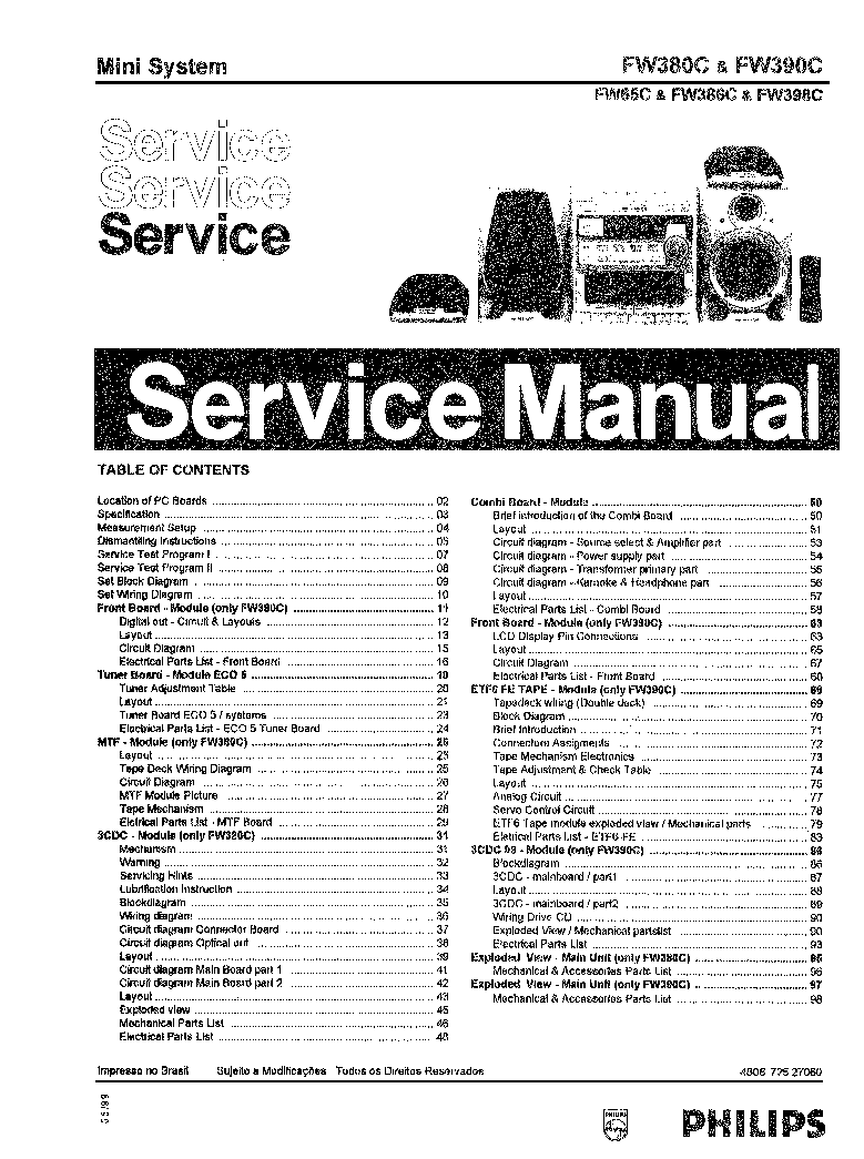 PHILIPS 90AH304 SM Service Manual free download