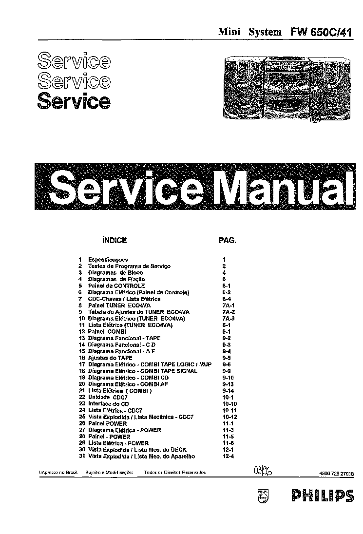 PHILIPS FW650C 41 Service Manual download, schematics