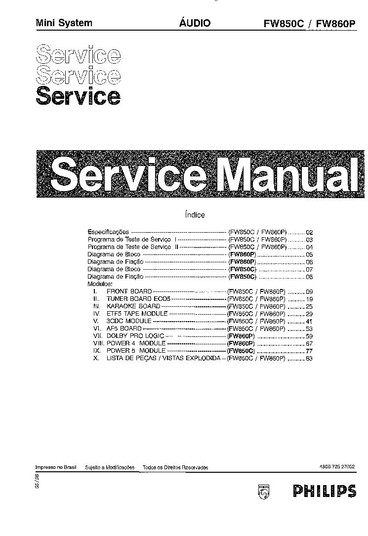PHILIPS FW 850C 860P Service Manual download, schematics