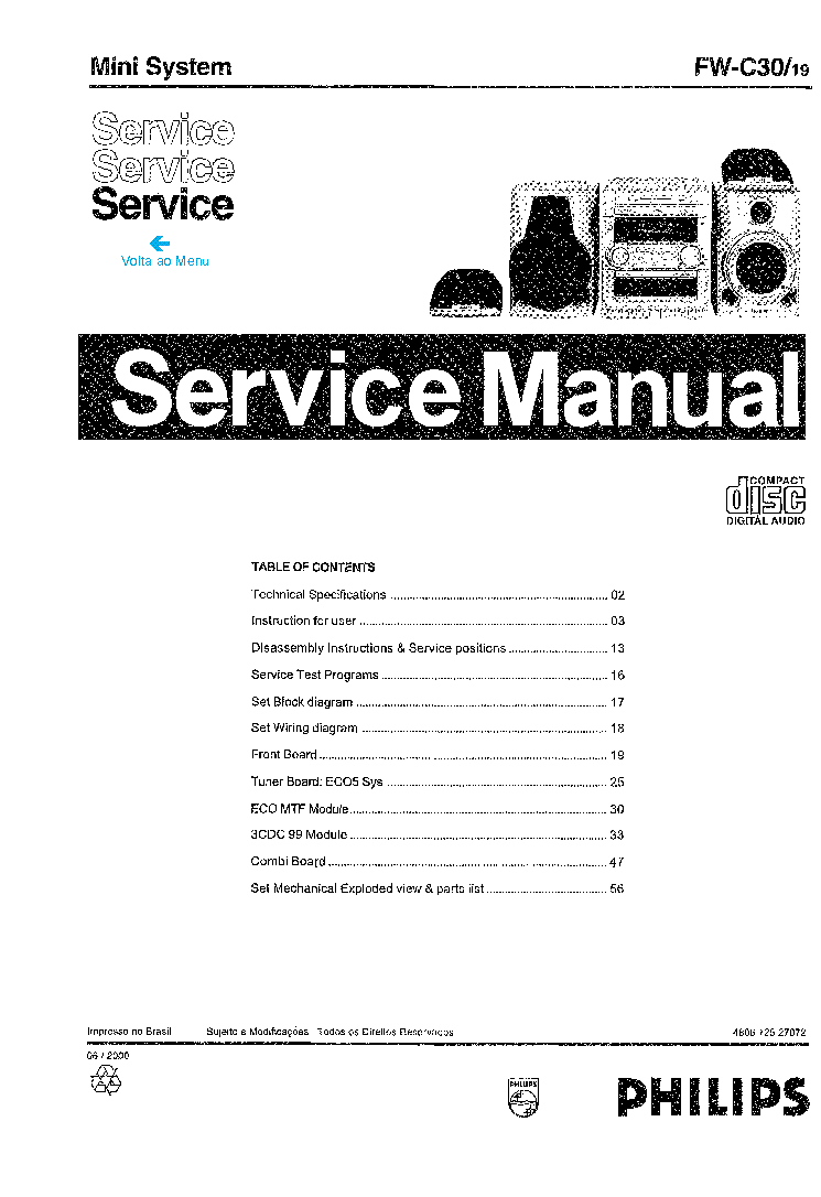 PHILIPS FWC30-19 480672527072 Service Manual download
